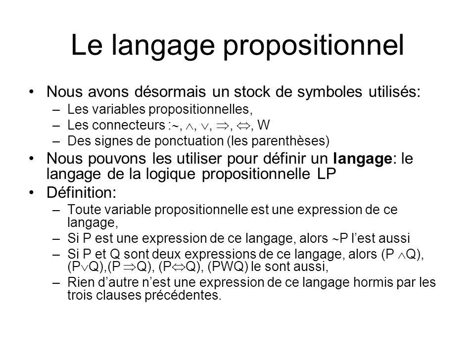 Le langage propositionnel