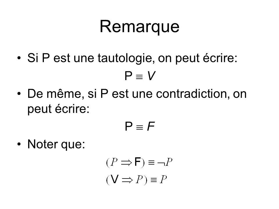 Remarque Si P est une tautologie, on peut écrire: P  V