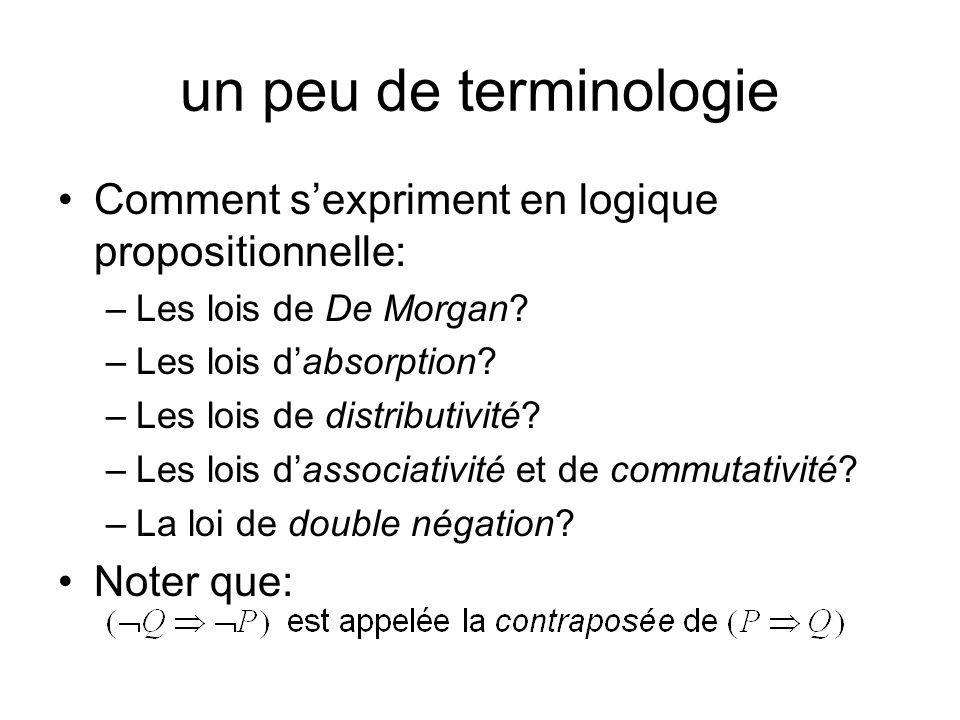 un peu de terminologie Comment s'expriment en logique propositionnelle: Les lois de De Morgan Les lois d'absorption