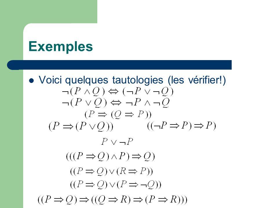 Exemples Voici quelques tautologies (les vérifier!)