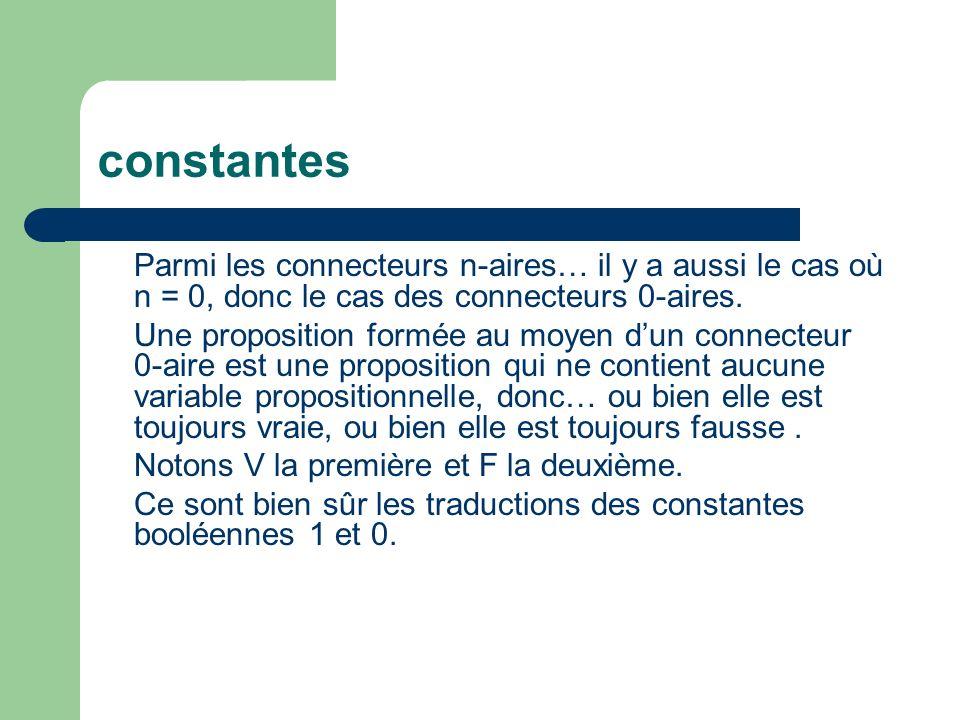constantes Parmi les connecteurs n-aires… il y a aussi le cas où n = 0, donc le cas des connecteurs 0-aires.
