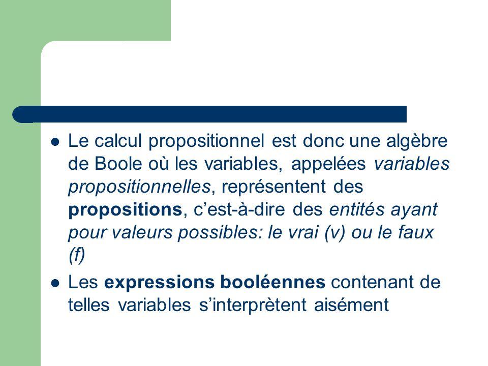 Le calcul propositionnel est donc une algèbre de Boole où les variables, appelées variables propositionnelles, représentent des propositions, c'est-à-dire des entités ayant pour valeurs possibles: le vrai (v) ou le faux (f)
