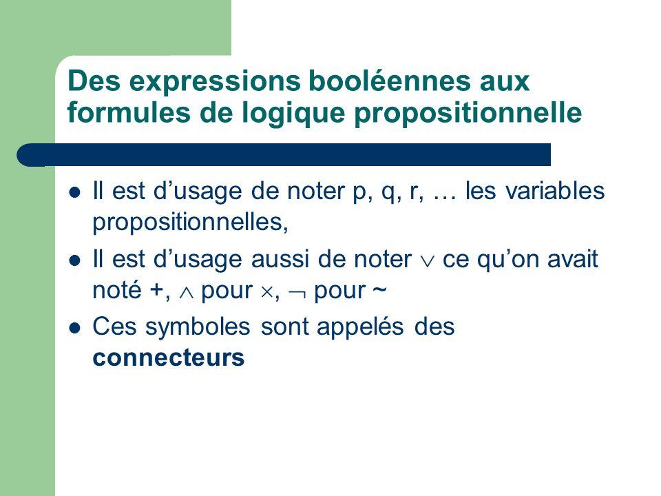 Des expressions booléennes aux formules de logique propositionnelle