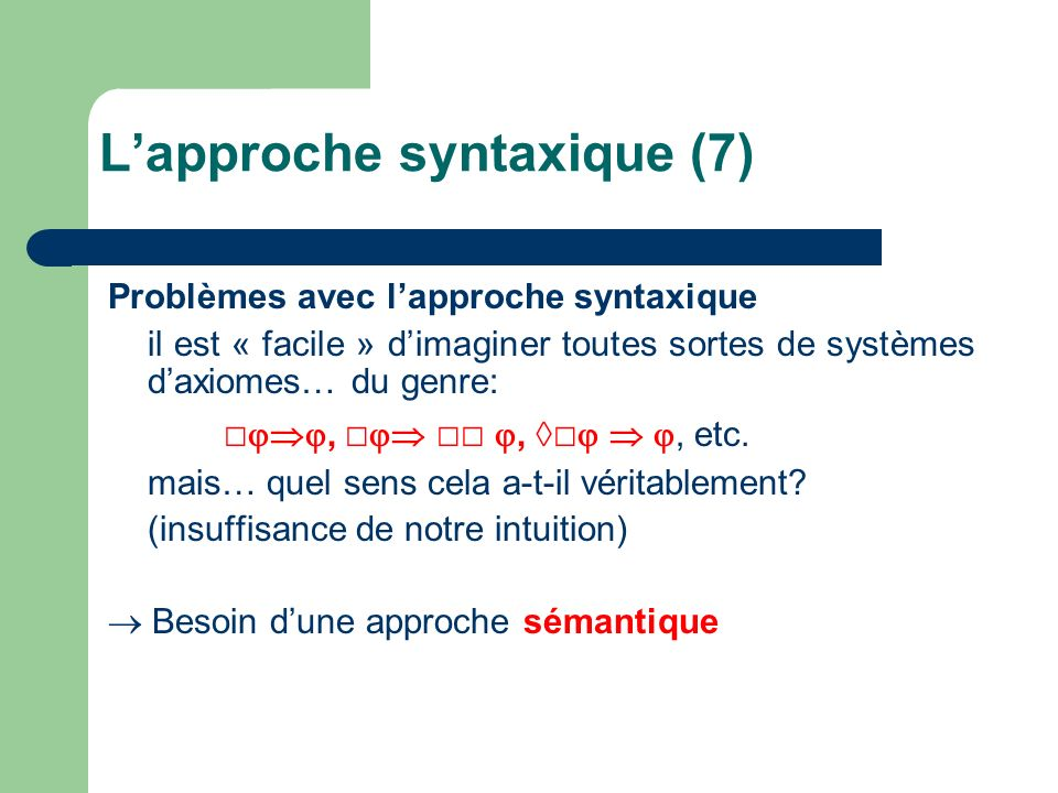 L'approche syntaxique (7)