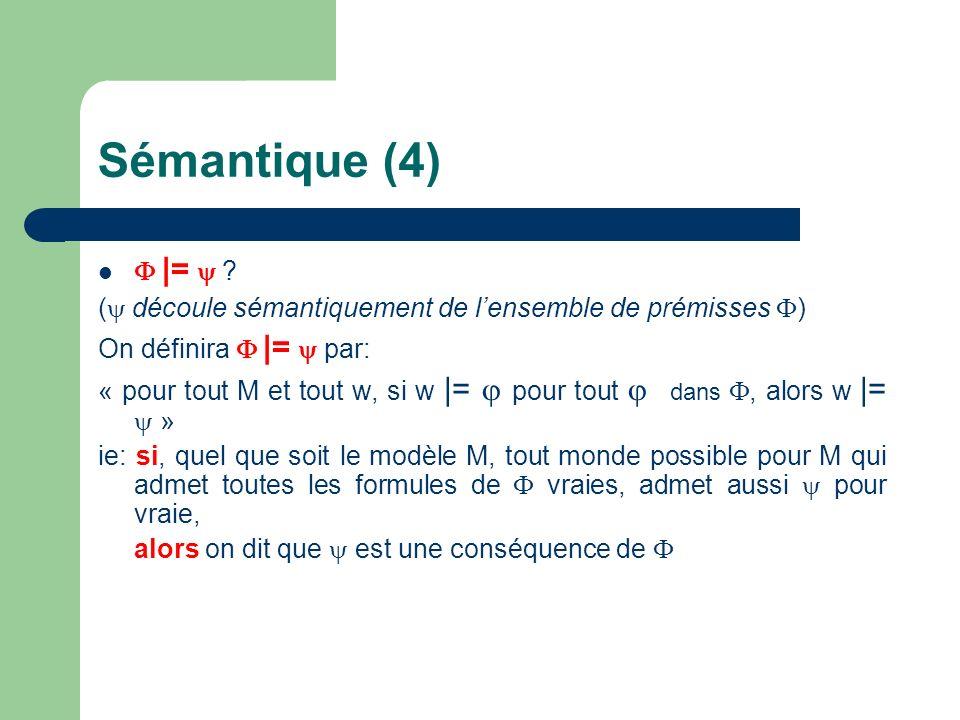 Sémantique (4)  |=  ( découle sémantiquement de l'ensemble de prémisses ) On définira  |=  par: