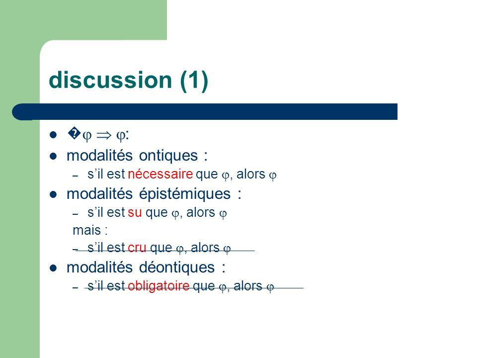 discussion (1) �  : modalités ontiques : modalités épistémiques :