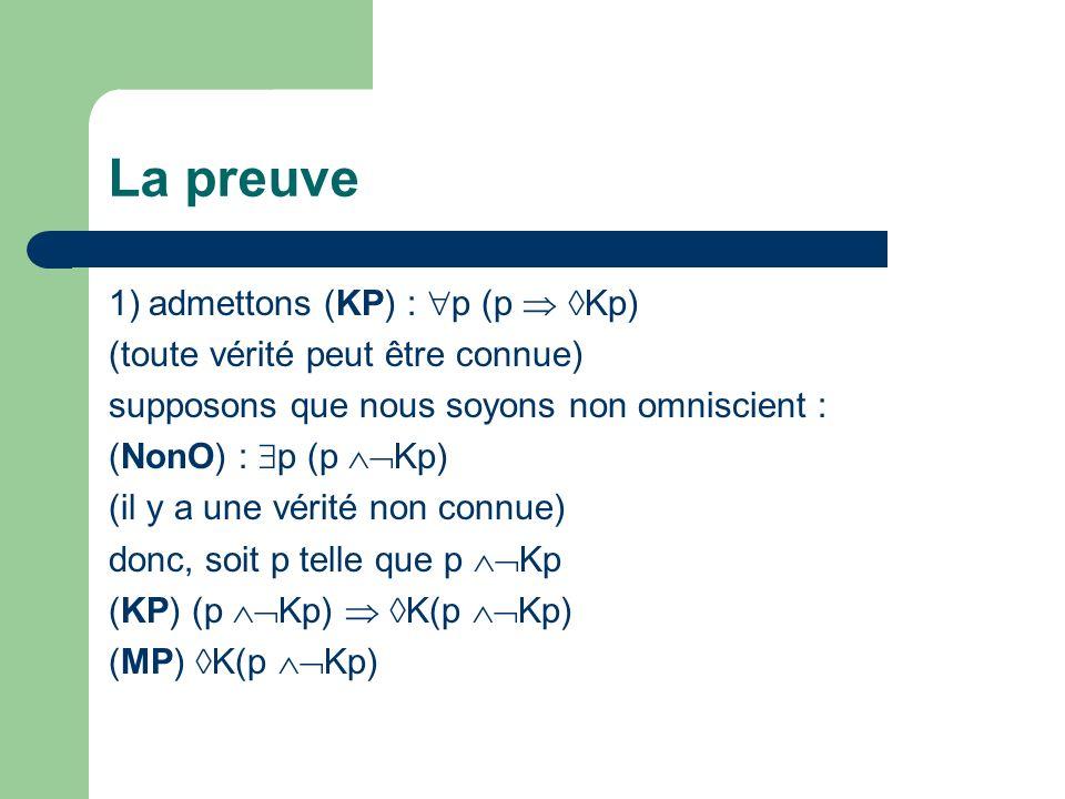 La preuve 1) admettons (KP) : p (p  Kp)