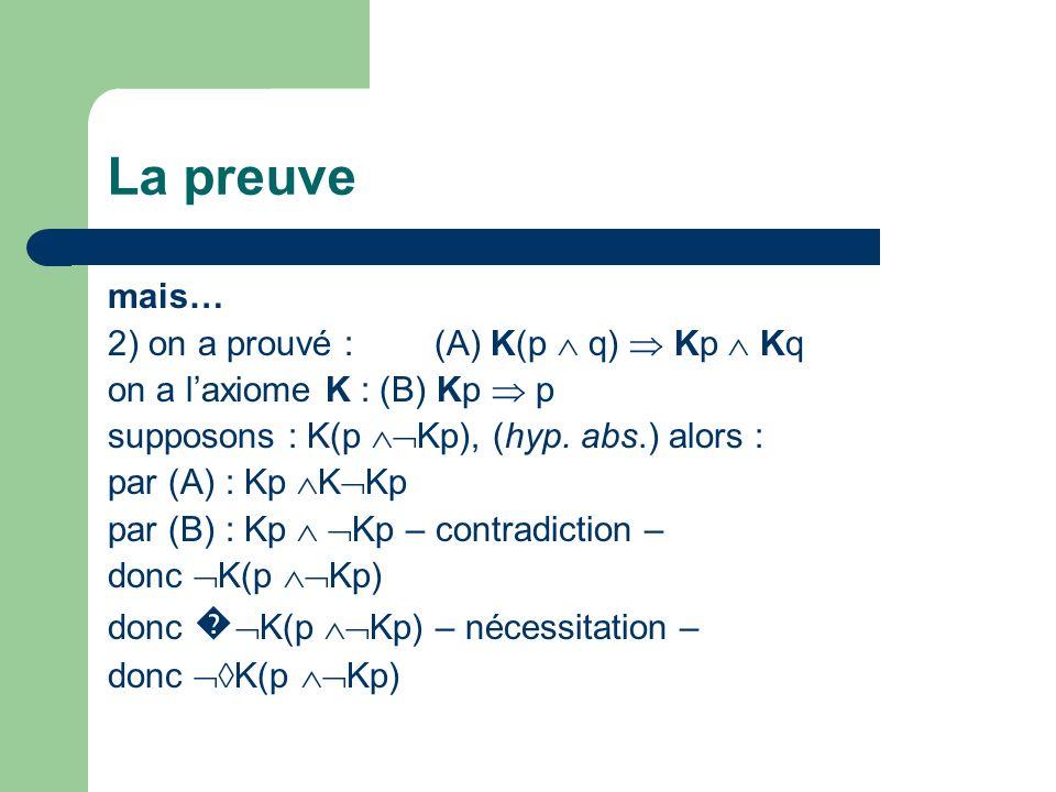 La preuve mais… 2) on a prouvé : (A) K(p  q)  Kp  Kq