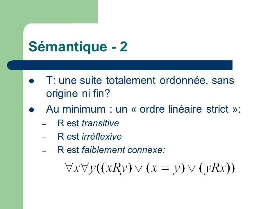 Sémantique - 2 T: une suite totalement ordonnée, sans origine ni fin