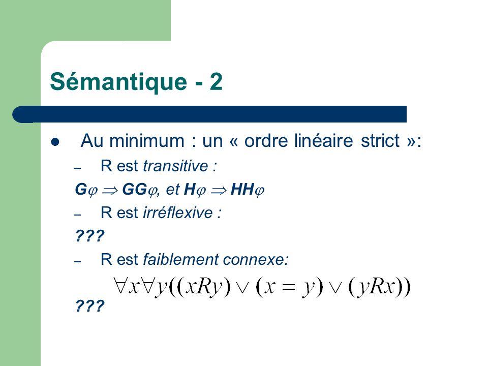 Sémantique - 2 Au minimum : un « ordre linéaire strict »: