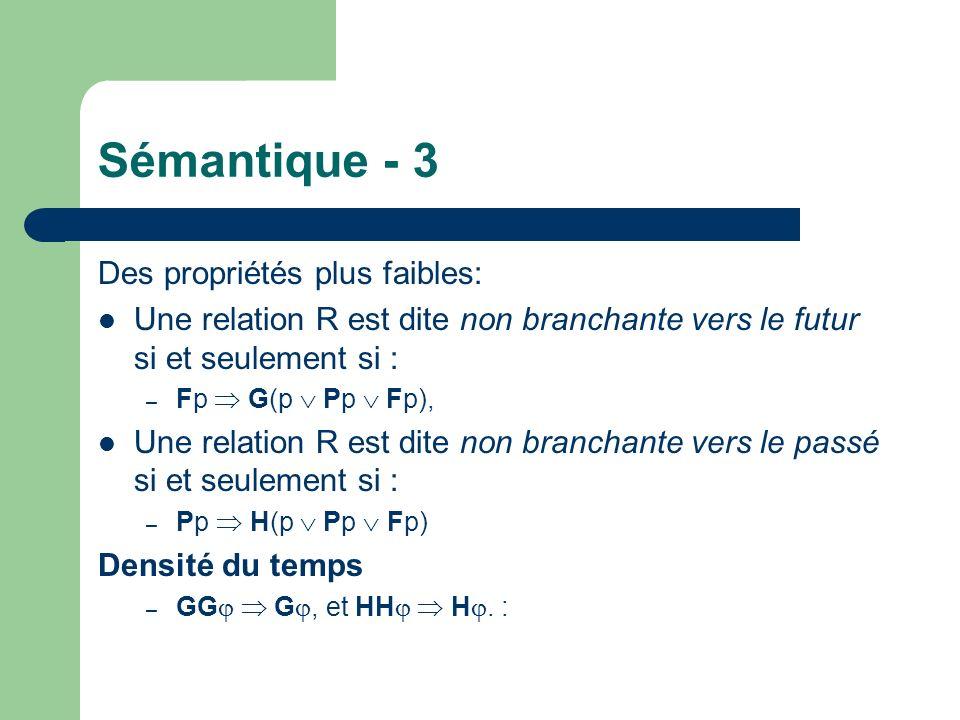 Sémantique - 3 Des propriétés plus faibles: