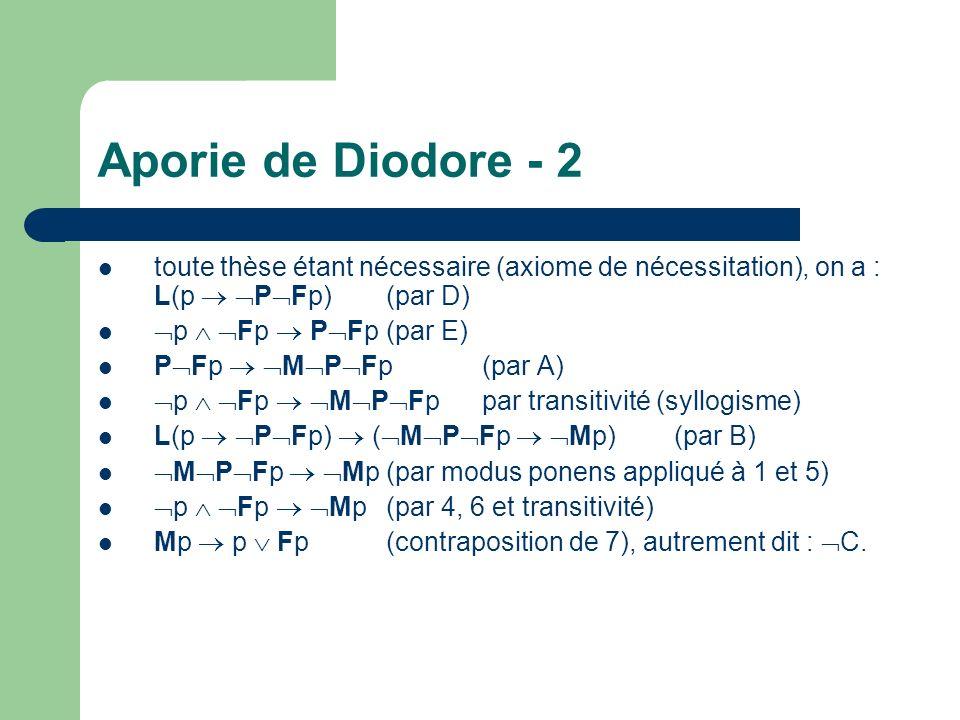 Aporie de Diodore - 2 toute thèse étant nécessaire (axiome de nécessitation), on a : L(p  PFp) (par D)