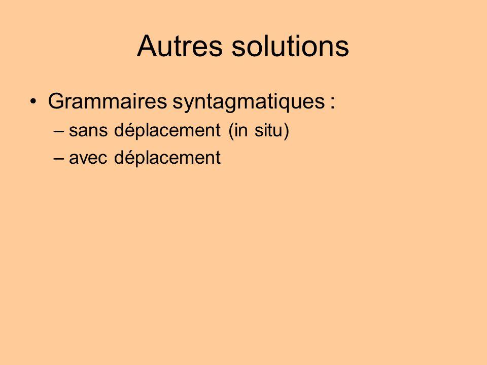 Autres solutions Grammaires syntagmatiques :