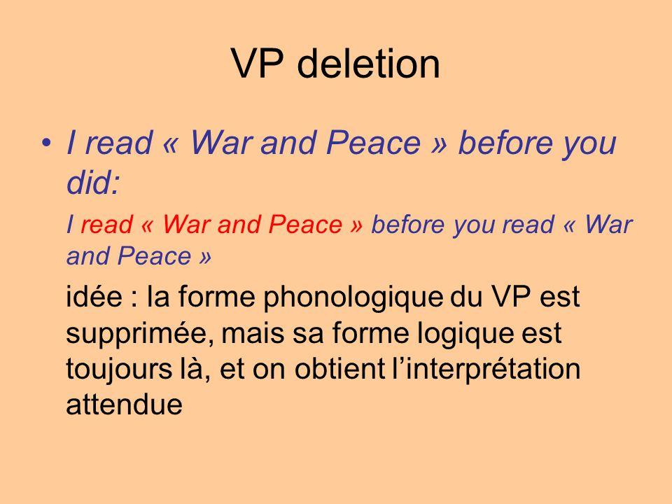 VP deletion I read « War and Peace » before you did: