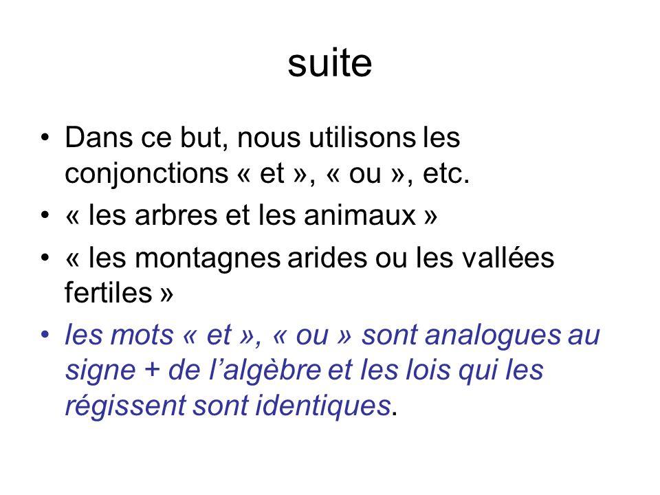 suiteDans ce but, nous utilisons les conjonctions « et », « ou », etc. « les arbres et les animaux »