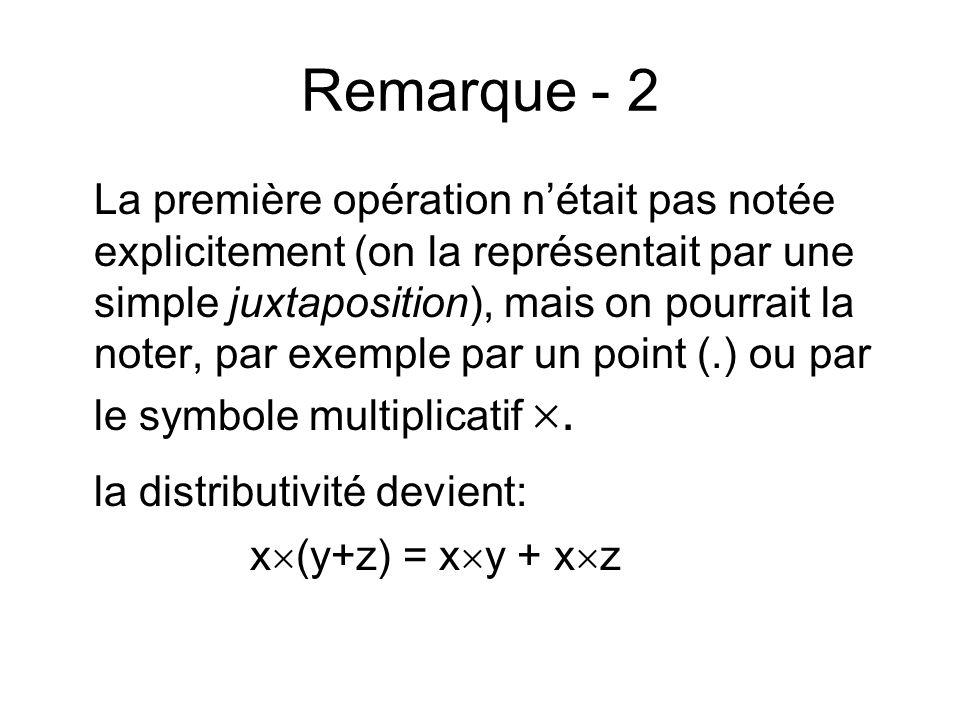 Remarque - 2 la distributivité devient: