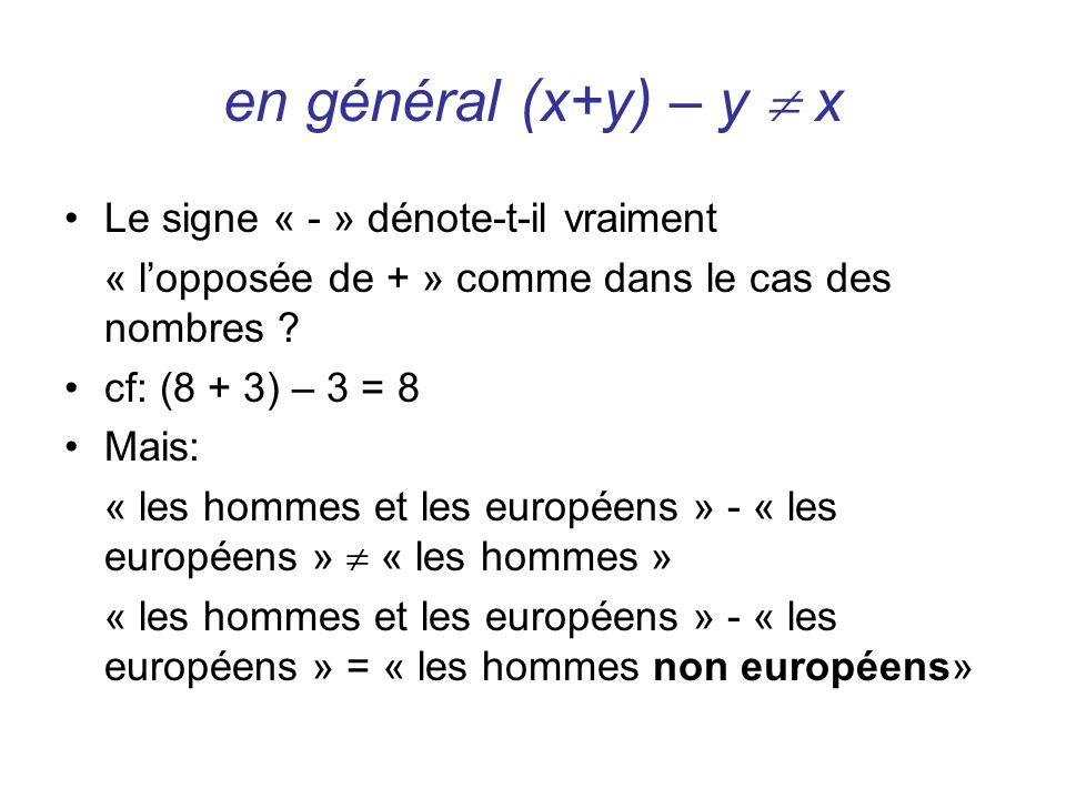 en général (x+y) – y  x Le signe « - » dénote-t-il vraiment