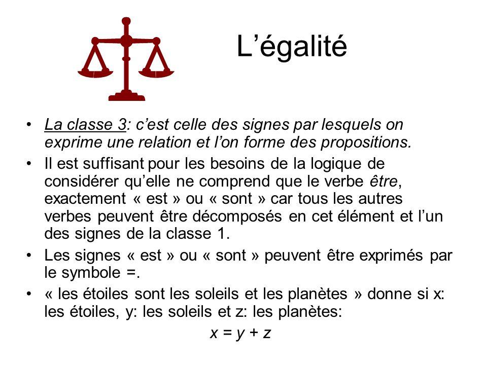 L'égalitéLa classe 3: c'est celle des signes par lesquels on exprime une relation et l'on forme des propositions.