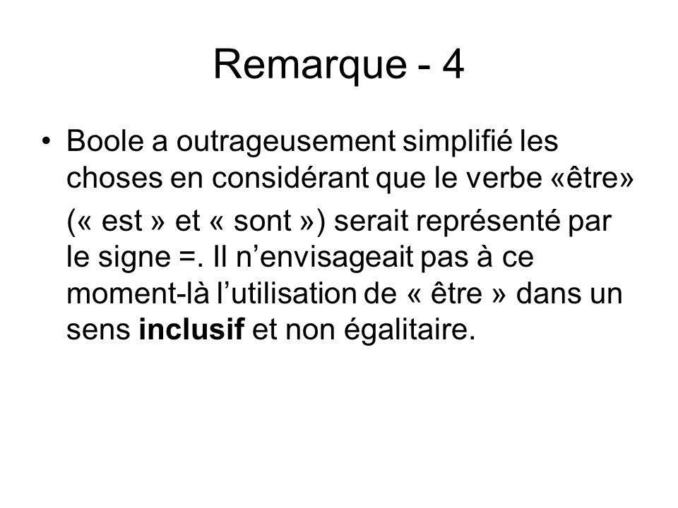 Remarque - 4 Boole a outrageusement simplifié les choses en considérant que le verbe «être»