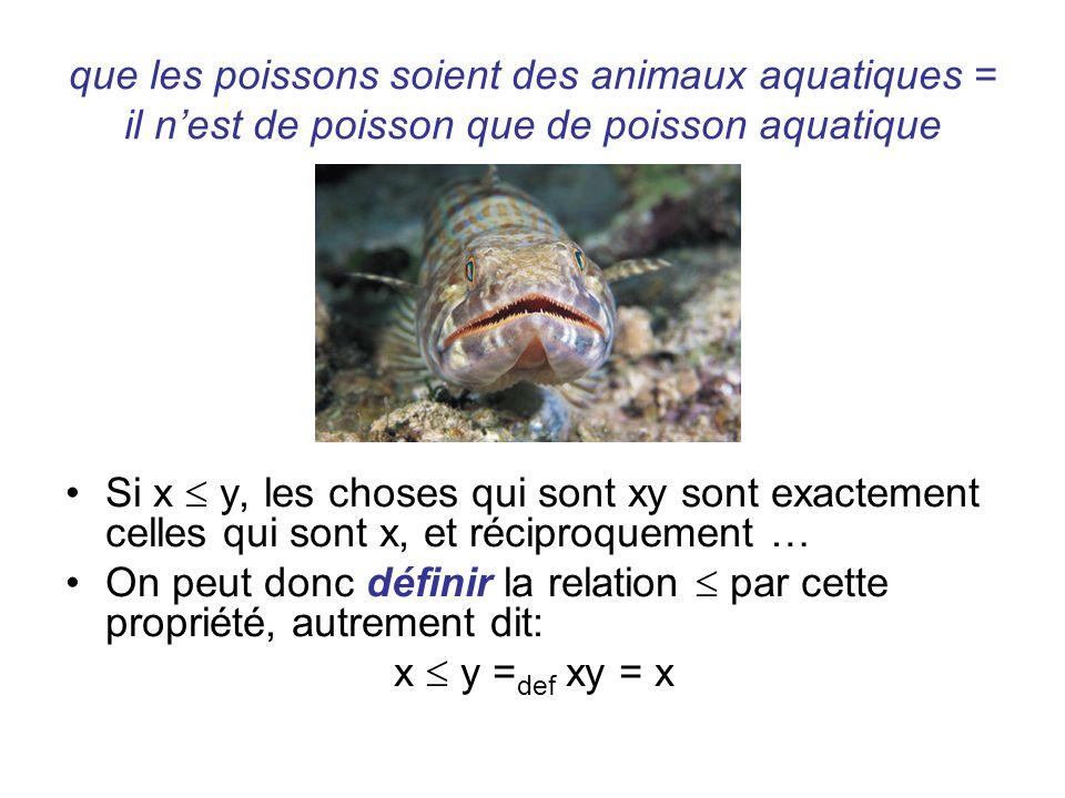 que les poissons soient des animaux aquatiques = il n'est de poisson que de poisson aquatique