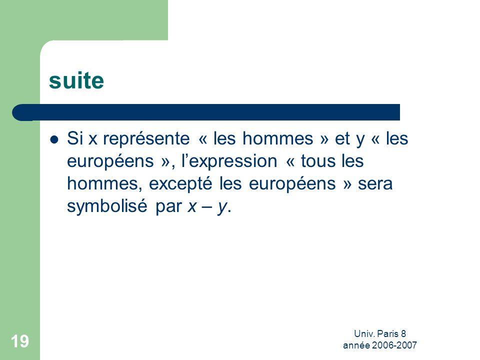 suite Si x représente « les hommes » et y « les européens », l'expression « tous les hommes, excepté les européens » sera symbolisé par x – y.