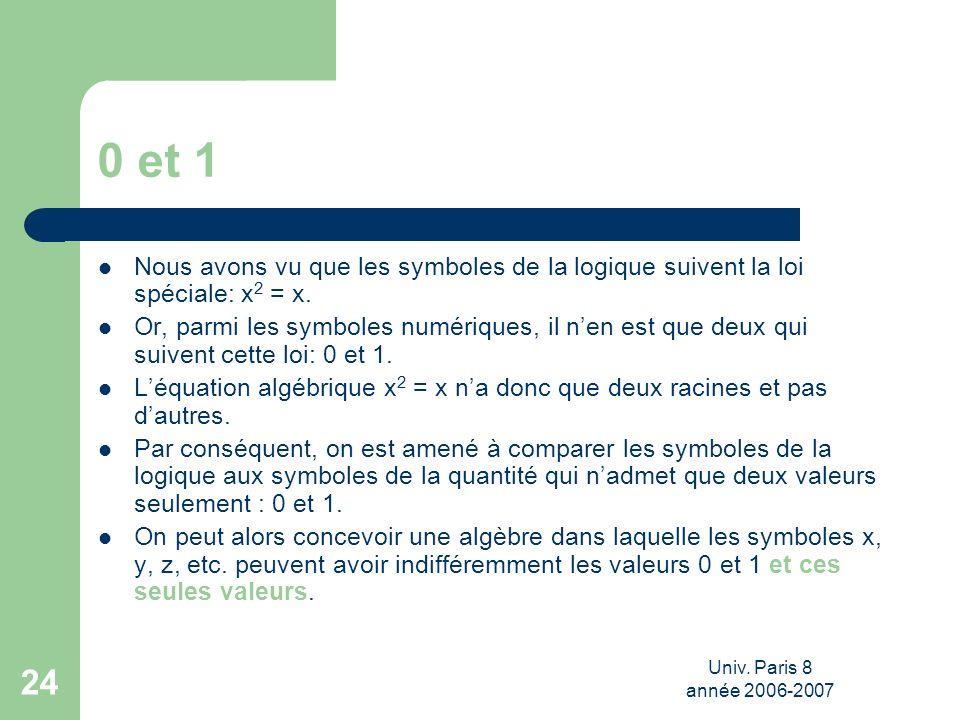 0 et 1 Nous avons vu que les symboles de la logique suivent la loi spéciale: x2 = x.