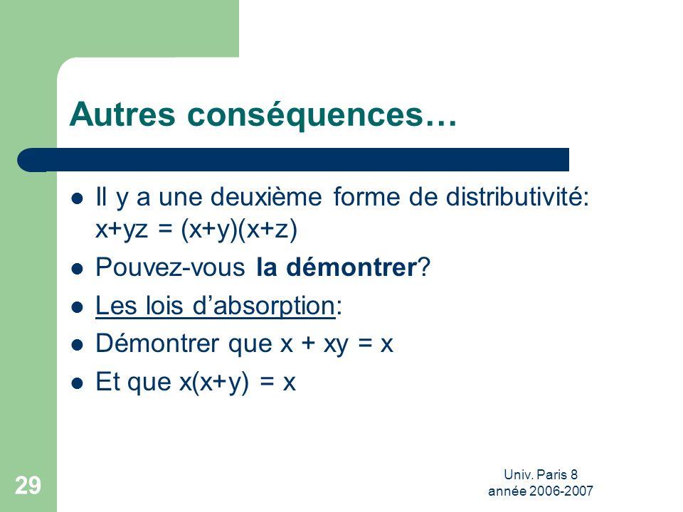 Autres conséquences… Il y a une deuxième forme de distributivité: x+yz = (x+y)(x+z) Pouvez-vous la démontrer