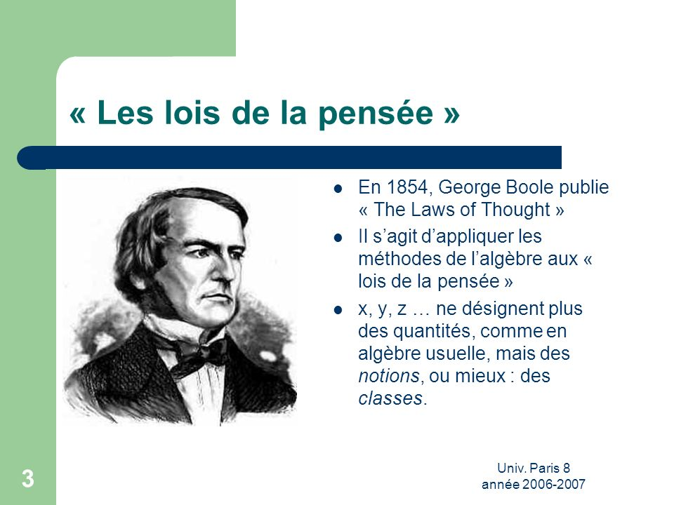 « Les lois de la pensée » En 1854, George Boole publie « The Laws of Thought »