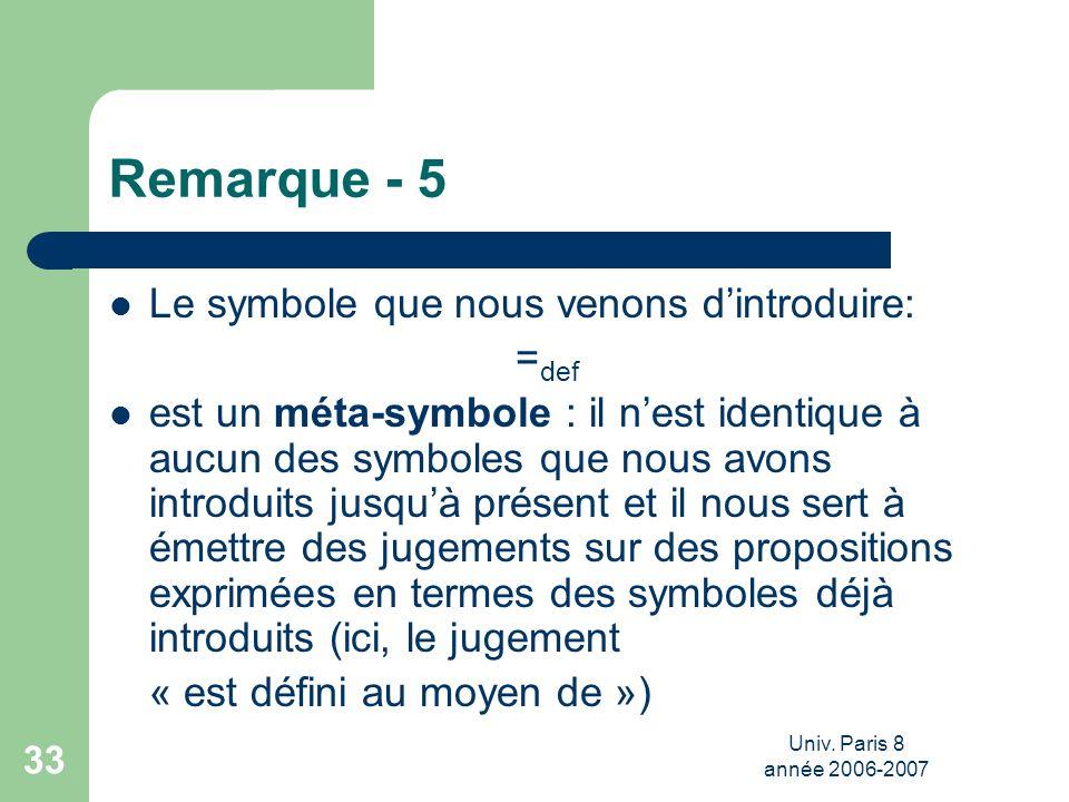 Remarque - 5 Le symbole que nous venons d'introduire: =def