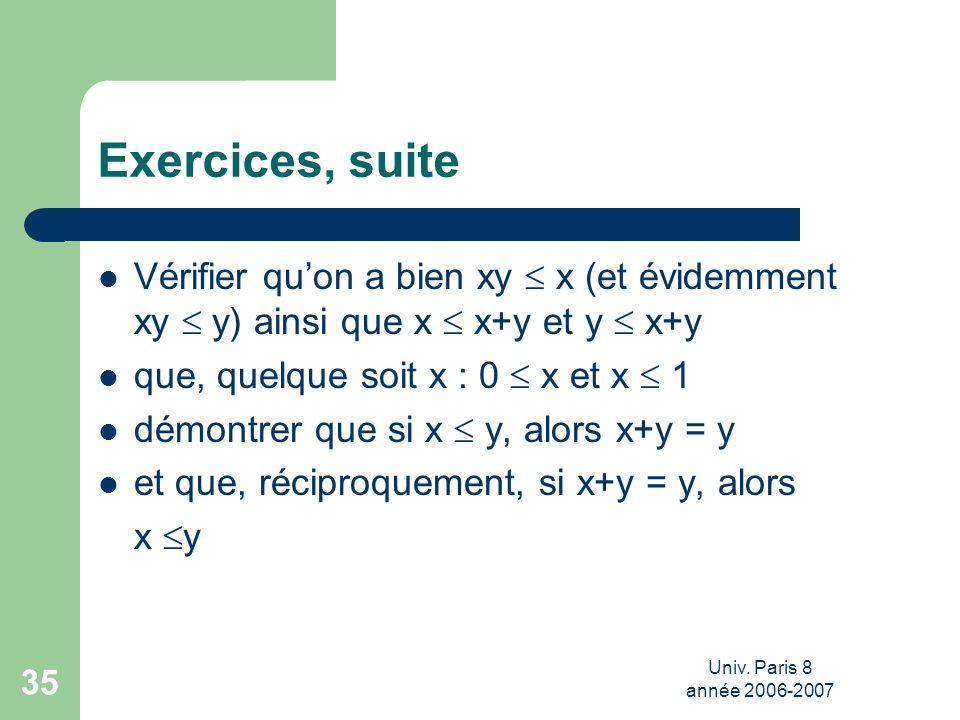 Exercices, suite Vérifier qu'on a bien xy  x (et évidemment xy  y) ainsi que x  x+y et y  x+y. que, quelque soit x : 0  x et x  1.
