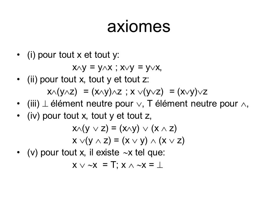 axiomes (i) pour tout x et tout y: xy = yx ; xy = yx,