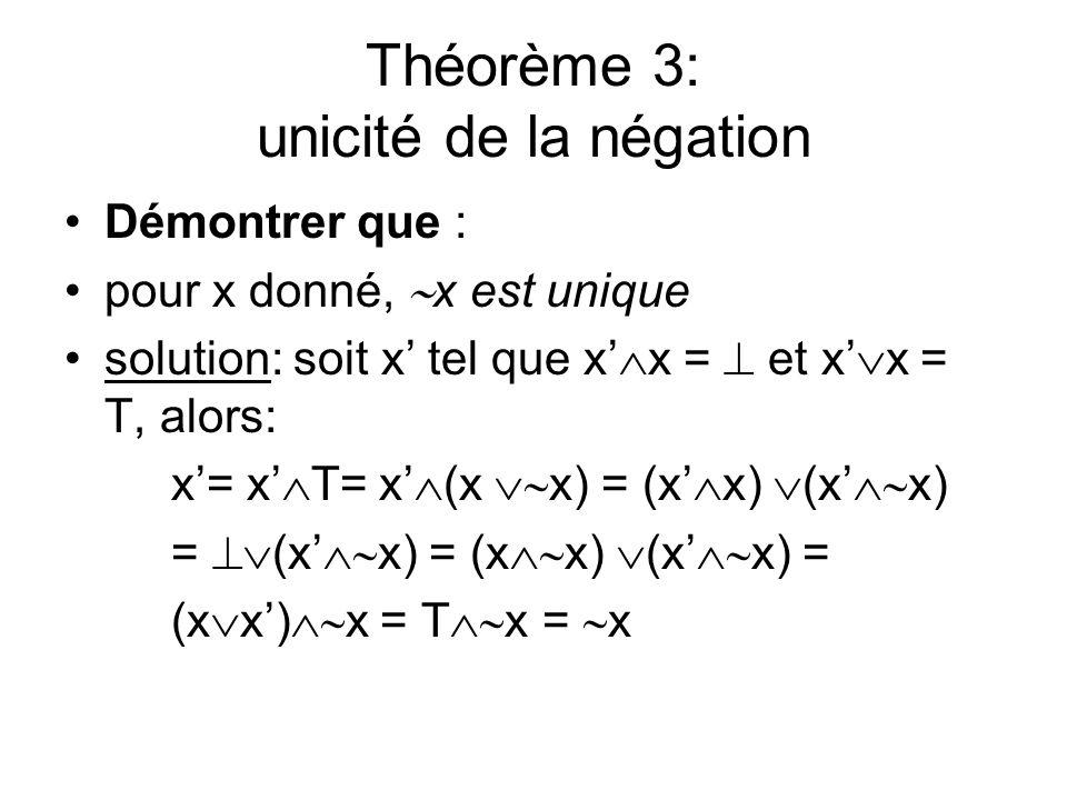 Théorème 3: unicité de la négation