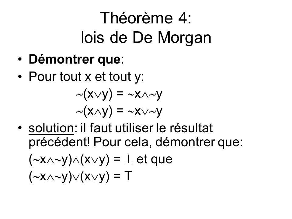 Théorème 4: lois de De Morgan