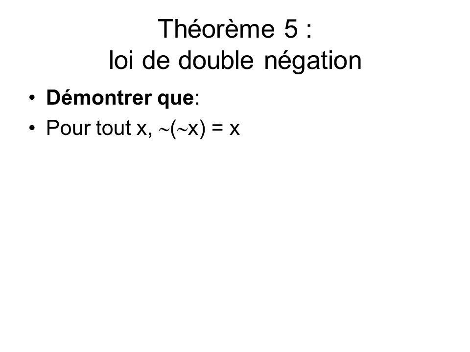 Théorème 5 : loi de double négation
