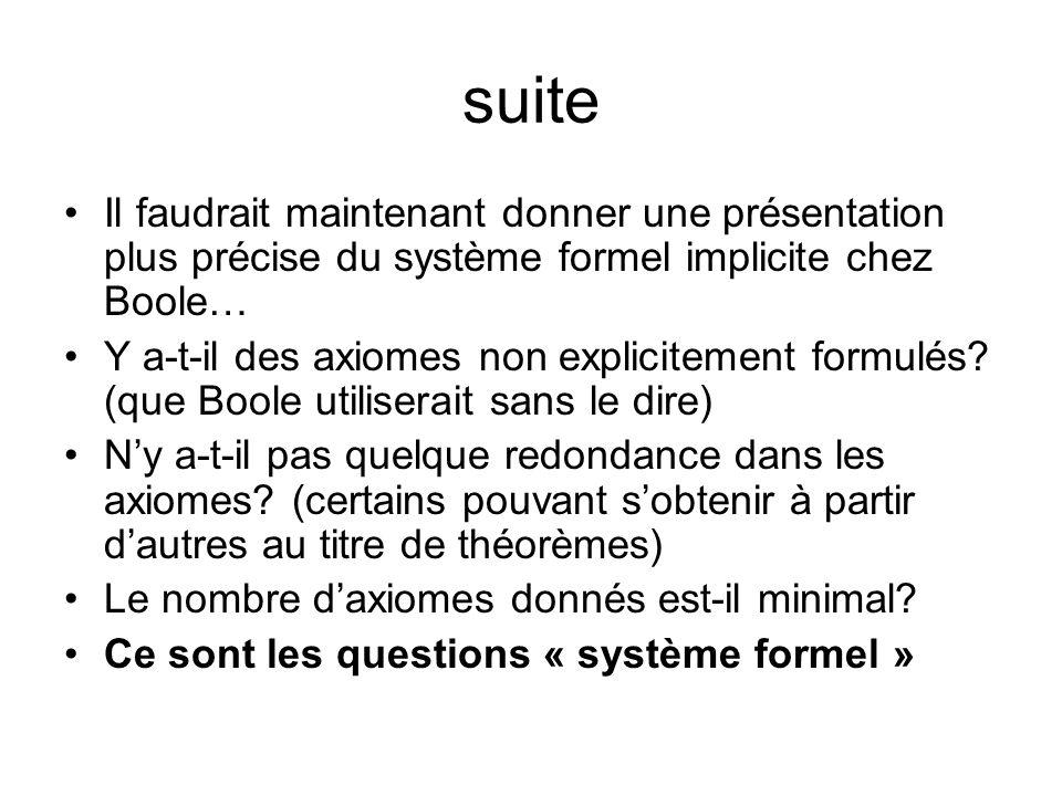 suiteIl faudrait maintenant donner une présentation plus précise du système formel implicite chez Boole…