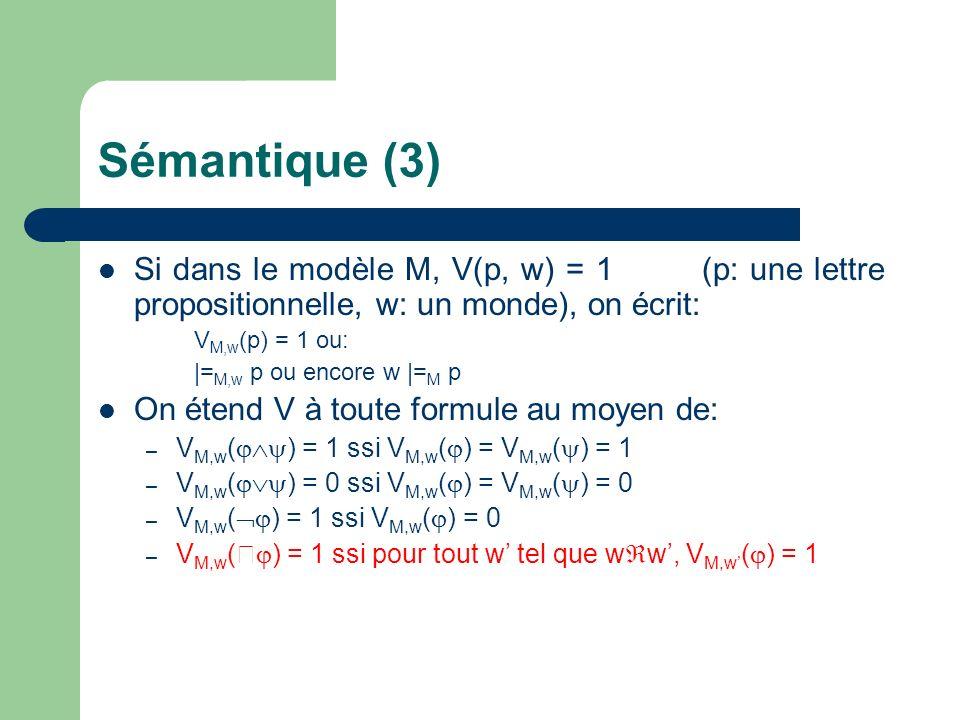 Sémantique (3) Si dans le modèle M, V(p, w) = 1 (p: une lettre propositionnelle, w: un monde), on écrit: