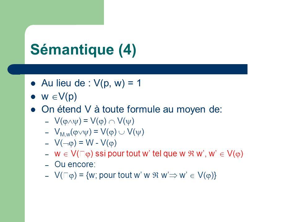 Sémantique (4) Au lieu de : V(p, w) = 1 w V(p)