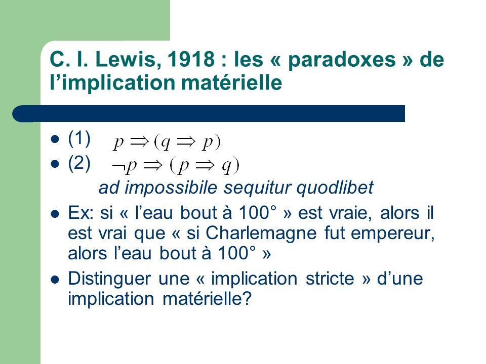 C. I. Lewis, 1918 : les « paradoxes » de l'implication matérielle