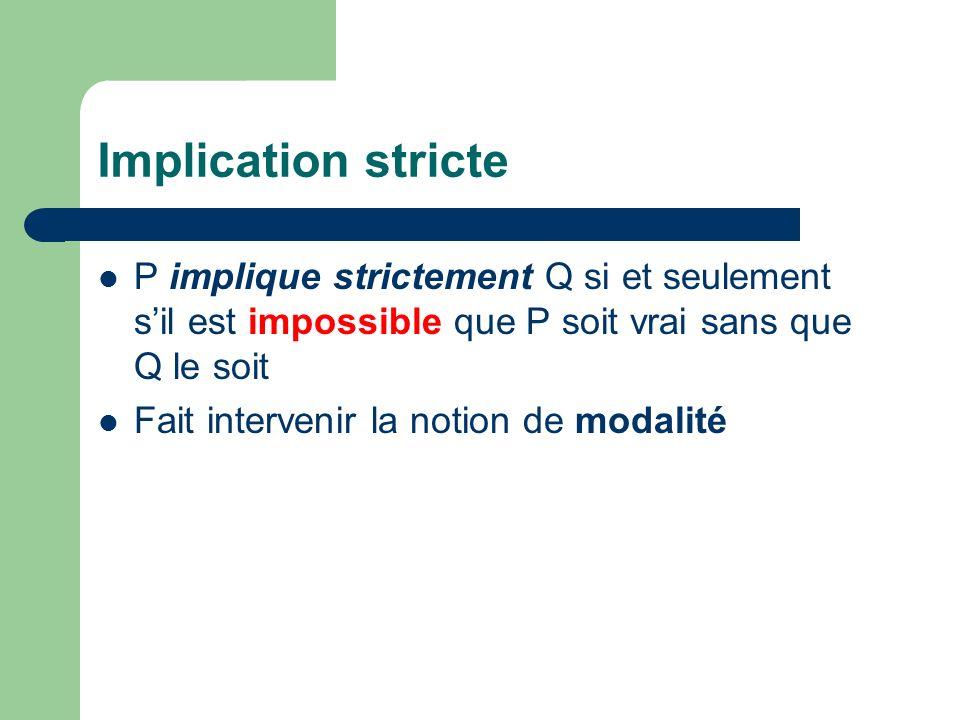 Implication stricte P implique strictement Q si et seulement s'il est impossible que P soit vrai sans que Q le soit.