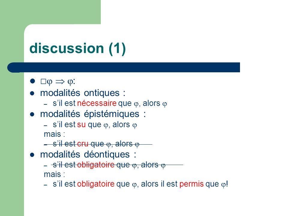 discussion (1) □  : modalités ontiques : modalités épistémiques :