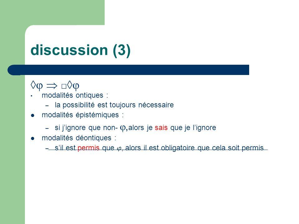 discussion (3) ◊  □◊ modalités ontiques :