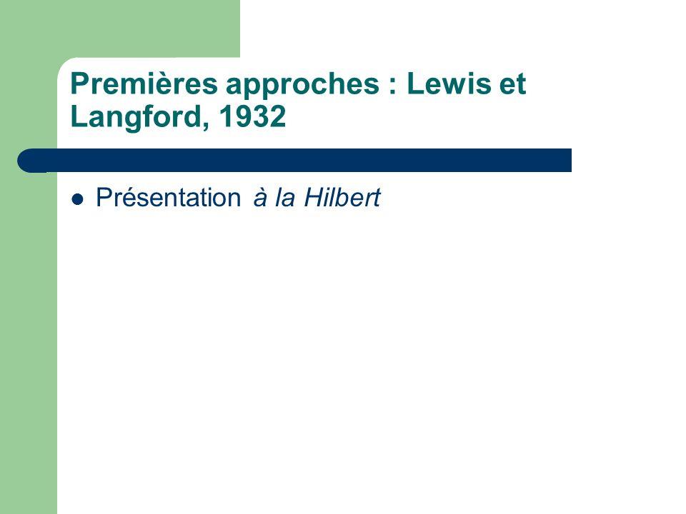 Premières approches : Lewis et Langford, 1932