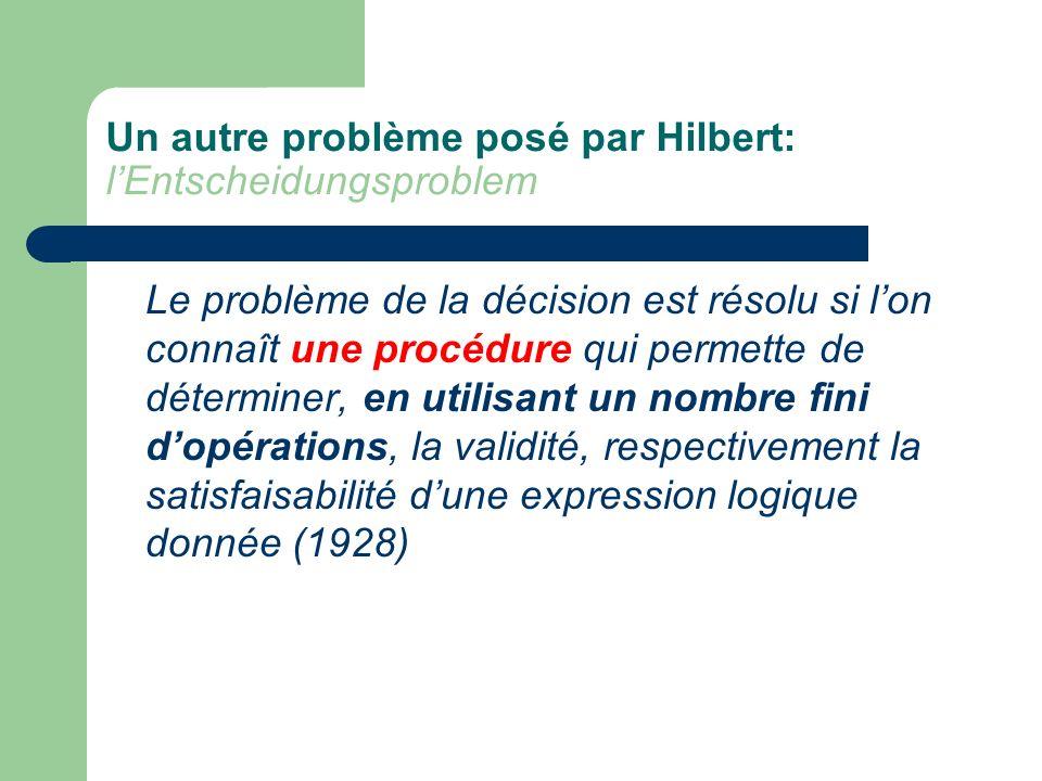 Un autre problème posé par Hilbert: l'Entscheidungsproblem