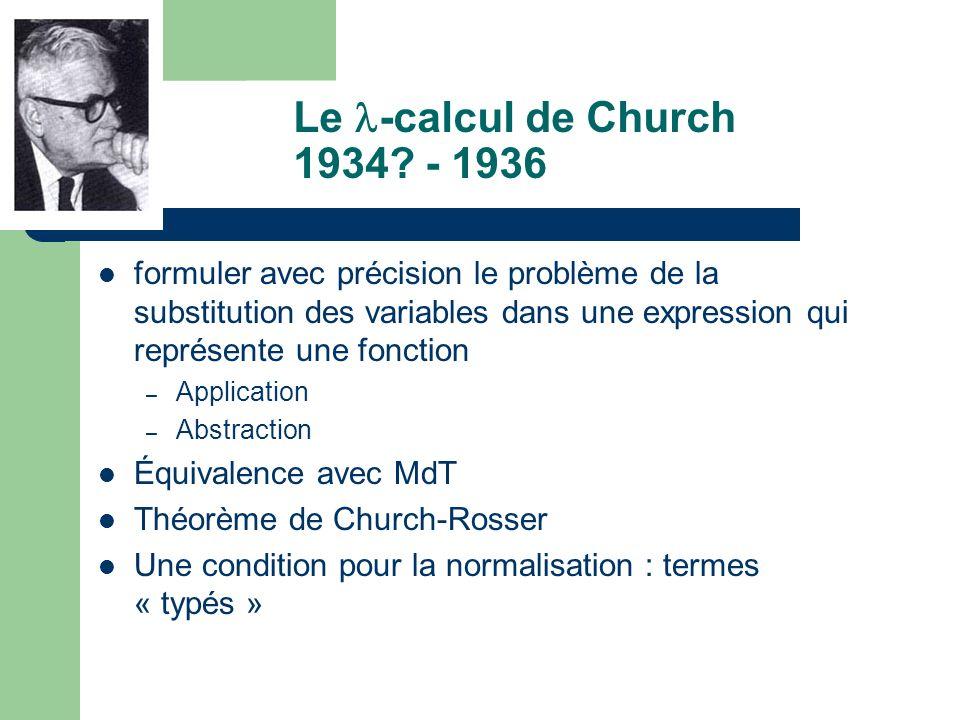 Le -calcul de Church 1934 - 1936