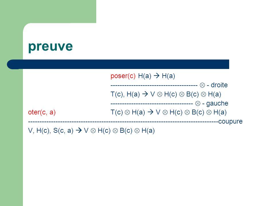 preuve poser(c) H(a)  H(a)