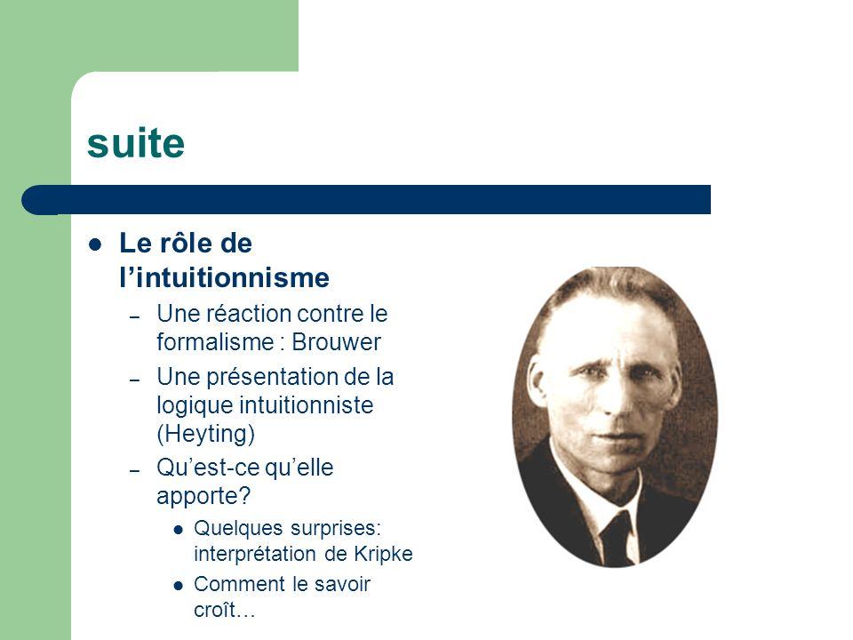 suite Le rôle de l'intuitionnisme