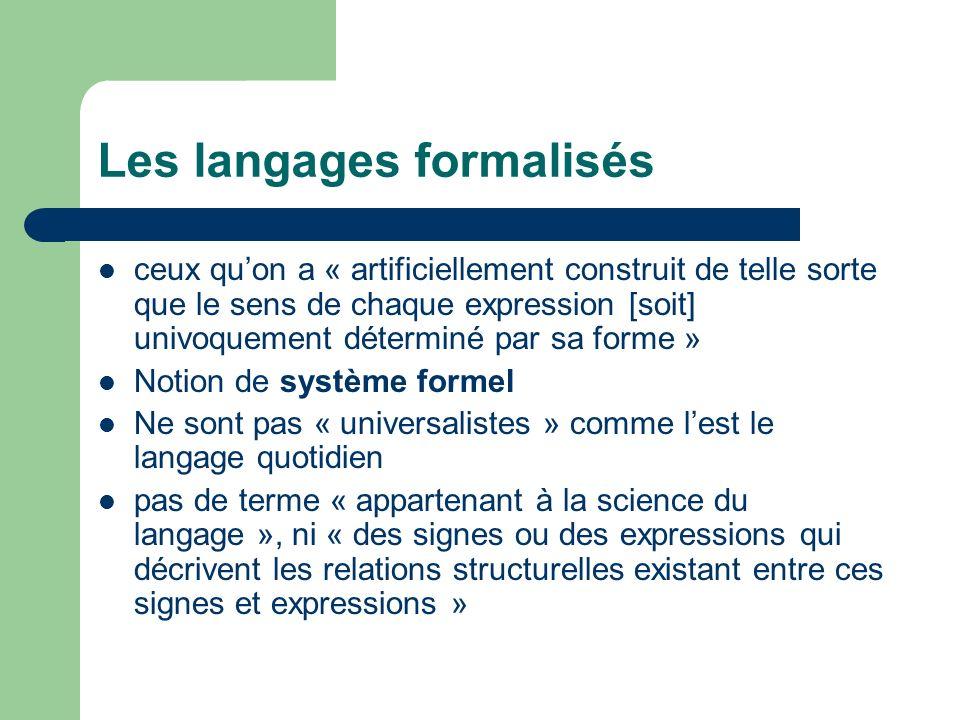 Les langages formalisés