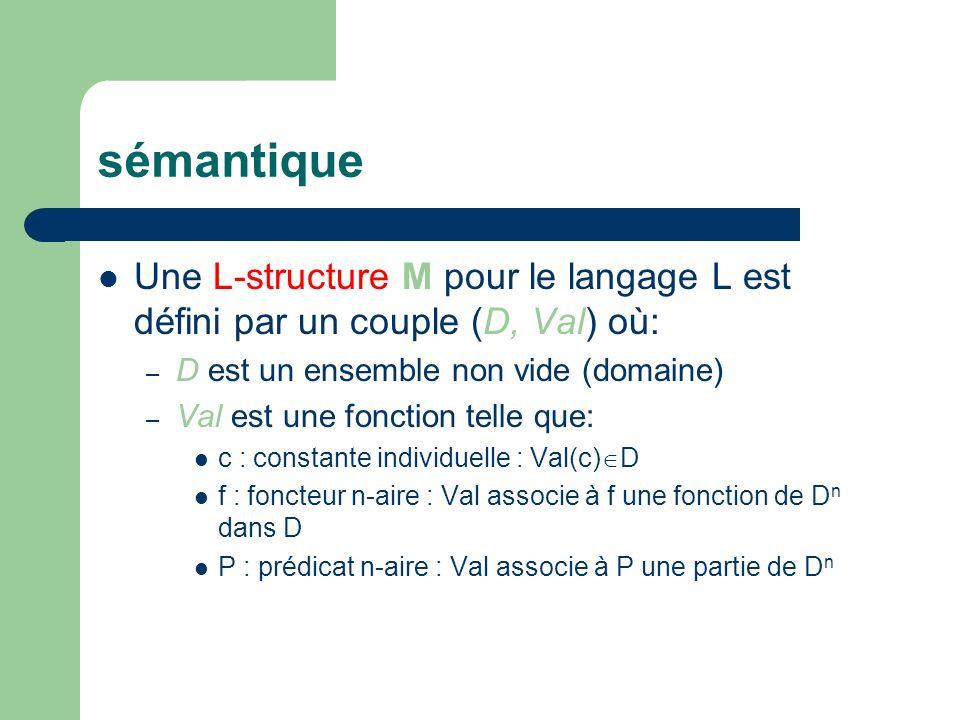 sémantique Une L-structure M pour le langage L est défini par un couple (D, Val) où: D est un ensemble non vide (domaine)