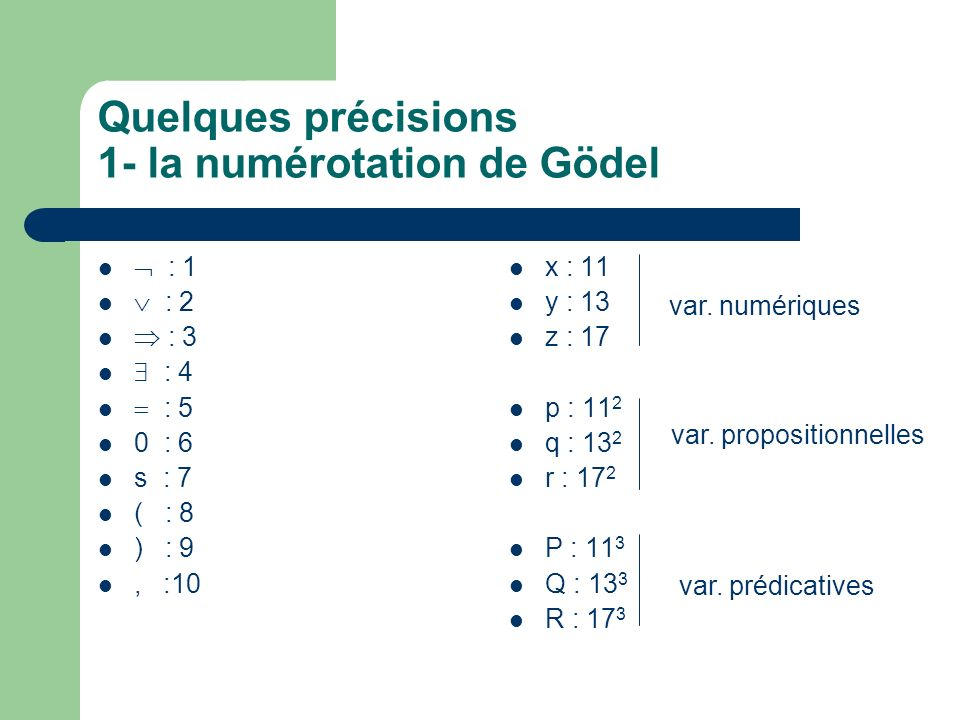 Quelques précisions 1- la numérotation de Gödel