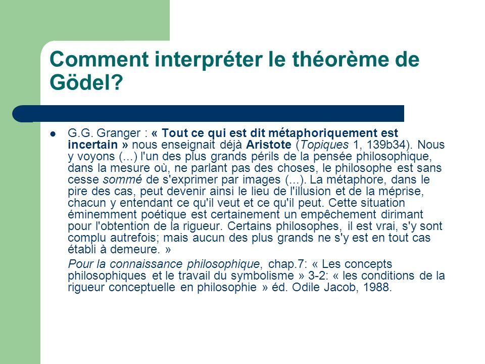 Comment interpréter le théorème de Gödel